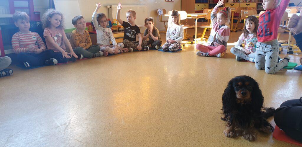 dzieci siedzące w kole podczas zajęć dogoterapii