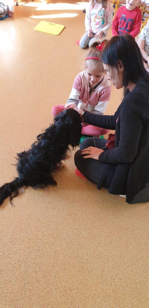 dziewczynka dotyka psa w towarzystwie opiekuna psa